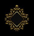 golden frame with a beads curls and leaves vector image