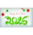 Green happy new year ribbon on snow vector image
