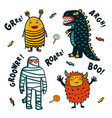 halloween monsters costumes on white background vector image