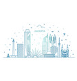 jakarta cityscape with landmarks indonesia vector image vector image