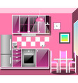 kitchen with furniture flat style vector image
