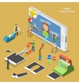 Mobile photo editor flat isometric concept vector image