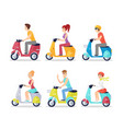 people on scooters flat set vector image