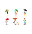people walking under umbrellas set cheerful men vector image vector image