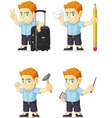 Red Head Boy Customizable Mascot 13 vector image vector image