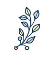 rustic twig with yellow and blue leaves vector image vector image