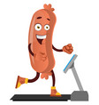 sausage running on machine on white background vector image vector image