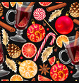 seamless mulled wine vector image vector image
