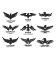 set black heraldic eagle heads and wings vector image