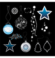 Shining Christmas toys isolated on a black vector image