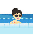 smiling young woman in swimming pool vector image vector image