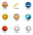 space planet icon set realistic style vector image vector image