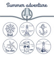 summer adventure poster with round sketchy icons vector image vector image
