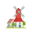 traditional rural windmill building with red roof vector image