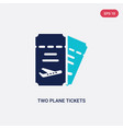 two color two plane tickets icon from airport vector image