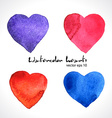 Watercolor of color hearts vector image