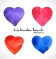Watercolor of color hearts vector image vector image