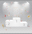 white winners podium with confetti vector image