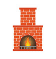 winter interior bonfire classic fireplace made vector image vector image