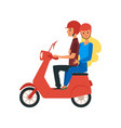 young loving couple traveling riding on bike flat vector image