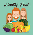 young people with fruits and vegetables vector image