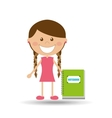 cheerful girl study notebook design vector image