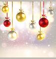 christmas greeting card with shiny christmas balls vector image