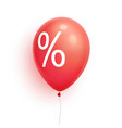 3d sale balloon with percent discount promoti vector image