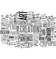 art shows text word cloud concept vector image vector image