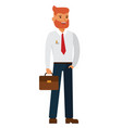 bearded businessman with case cartoon flat vector image
