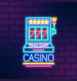 bright neon gaming slot machine flat vector image vector image