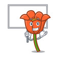 bring board poppy flower character cartoon vector image