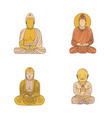 buddha set cartoon style vector image vector image