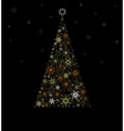 Christmas Fir tree from colored snowflakes vector image