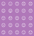 Circle face line icons on violet background vector image vector image