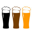 colorful beer glasses with foam vector image vector image