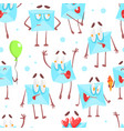 cute envelopes characters seamless pattern funny vector image