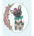 Cute hipster dog and flowers vector image vector image