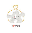 cute mouses in love valentines day vector image