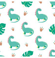 dinosaur seamless pattern cute dino print in green vector image vector image
