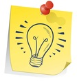 doodle sticky note lightbulb vector image vector image