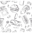 Fast Food Seamless pattern Sketches Vintage vector image vector image
