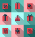 Flat gift box icon with long shadow vector image vector image