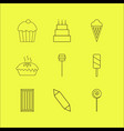 food and drink linear icon set vector image vector image