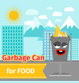 food trash can with monster face vector image vector image