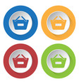 four round color icons shopping basket minus vector image