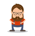 Funny man hipster in cartoon style vector image