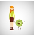 girl cartoon and kiwi cute fruit icon vector image vector image