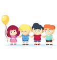 group of happy kids holding hands friendship vector image