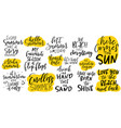handdrawn lettering set about summer and holidays vector image